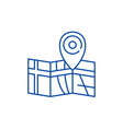 route on the map line icon concept route on the vector image vector image