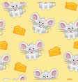 seamless pattern cute cartoon square grey mouse vector image vector image