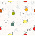 seamless pattern with cute apples on cute vector image vector image