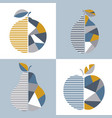 set of modern geometric fruit design vector image
