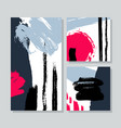 set of universal cards with brush strokes ink vector image vector image