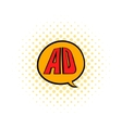 speech buble with ad letters icon in comics style