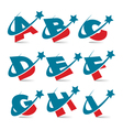 Swoosh patriotic alphabet set 1 vector | Price: 1 Credit (USD $1)