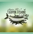 Tarpon fishing emblem on blur background