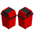 trashcans in red from two different angles vector image vector image