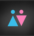 two icons male and female gender signs men and vector image vector image