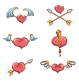 valentines day cartoon pink hearts set vector image