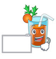 with board character healthy carrot smoothie for vector image vector image