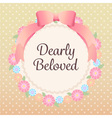 cute pastel flowers and ribbon lace orange cream vector image