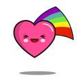 heart cartoon character icon kawaii with rainbow vector image