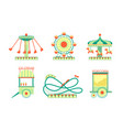 amusement park attractions icons set roller vector image