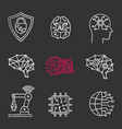 artificial intelligence chalk icons set vector image vector image