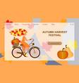 autumn harvest festival website landing page vector image vector image