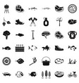 bbq rest icons set simple style vector image vector image