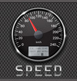 black speedometer on metal perforated background vector image vector image