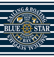 Blue Star sailing and boating vector image vector image