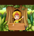 boy with raincoat in the woods vector image vector image