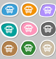 Bus symbols Multicolored paper stickers vector image vector image