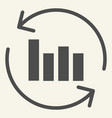 chart with arrows solid icon graph with circle vector image