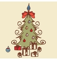Christmas tree doodles vector image