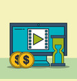 computer video time money digital marketing vector image vector image