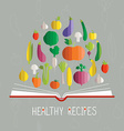 cookbook with vegetables vector image