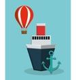 cruise ship with anchor and hot air balloon icon vector image vector image