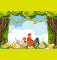 cute chicke in woods scene vector image vector image