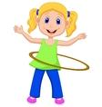 Cute girl twirling hula hoop vector image vector image