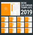 desk calendar design template for 2019 year week vector image vector image
