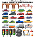 Different kind of cars and objects on road vector image