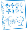 doodles trees in blue color vector image vector image