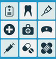 drug icons set collection of bandage pills vector image vector image