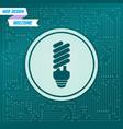 energy saving light bulb icon on a green vector image