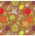 fruit pattern with bird vector image vector image
