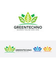 green technology logo design vector image vector image