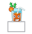 grinning with board character healthy carrot vector image vector image