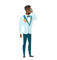 groom talking on a mobile phone vector image vector image