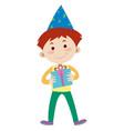 happy boy with birthday present vector image