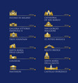 infographic of italy symbols landmarks in gold vector image vector image