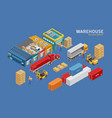 isometric warehouse and logistics vector image
