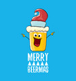 merry beermas comic christmas greeting card vector image