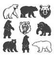 monochrome of stylized bears vector image vector image