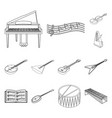 musical instrument outline icons in set collection vector image