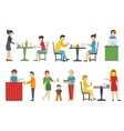 People in a flat interior Pizza icons set vector image vector image
