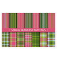 plaid pattern seamless ornate set spring vector image vector image