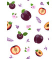 plum fruits and slice seamless pattern with cute vector image
