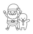 santa and gingerbread man decoration merry vector image