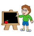 school boy writing on blackboard vector image