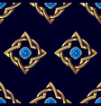 seamless pattern gold and blue jewel vector image vector image
